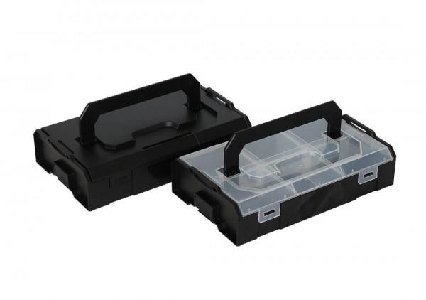 L-BOXX Mini Duo-Set Schwarz/Transparent + Trennstegen (Industrial Line Standard)